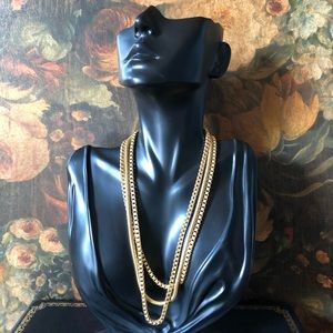 🔥 Vintage Triple Strand Gold Tone Rope Chain